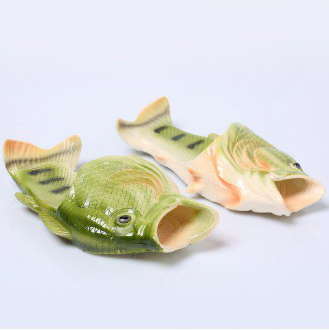 Plastic Fish Shaped Slippers - Green - Size(41-42)