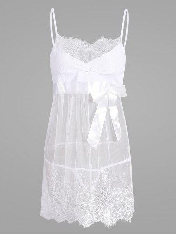 Discount Sheer Lace Slip Babydoll WHITE M