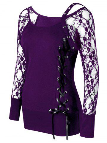 Shop Raglan Sleeve Fitted Lace Up Top - 2XL PURPLE Mobile