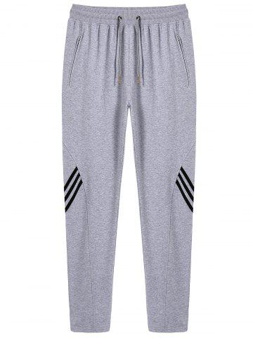 Online Stripe Drawstring Sweatpants GRAY 3XL