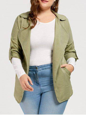 Hot Slit Turn Down Collar Plus Size Trench Coat LIGHT GREEN 3XL