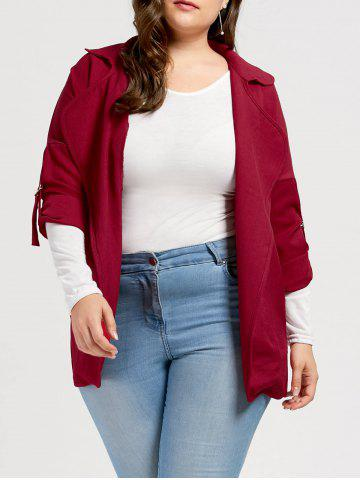 Slit Turn Down Collar Plus Size Trench Coat - Deep Red - 4xl