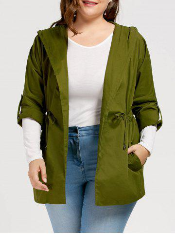 Plus Size Drawstring Hooded Trench Coat - Green - 3xl