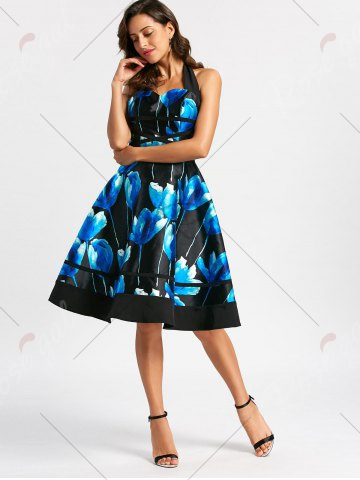 Affordable Flower Ink Print Halter 50s Swing Dress - S COLORMIX Mobile