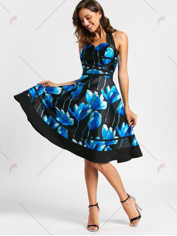 Hot Flower Ink Print Halter 50s Swing Dress - S COLORMIX Mobile