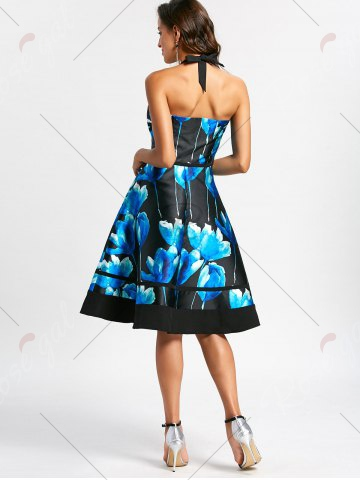 Cheap Flower Ink Print Halter 50s Swing Dress - S COLORMIX Mobile