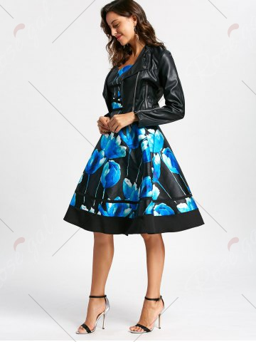 Fashion Flower Ink Print Halter 50s Swing Dress - S COLORMIX Mobile