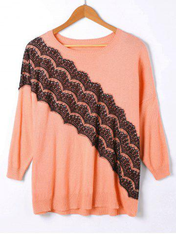 Pullover Ribbed Lace Panel Drop Shoulder Sweater - Orangepink - One Size