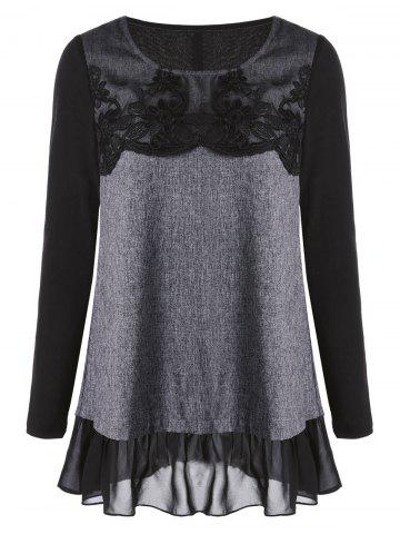 Back Slit Applique Chiffon Panel Long Sleeve Top - Black And Grey - 2xl