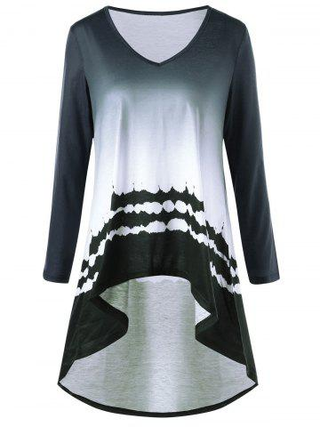 Printed High Low Ombre Color Long T-shirt - Gray - M