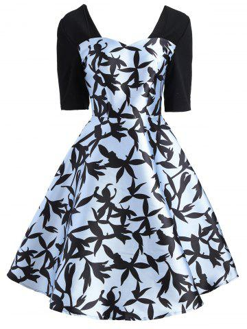 Sweetheart A Line Printed Dress - Cloudy - S