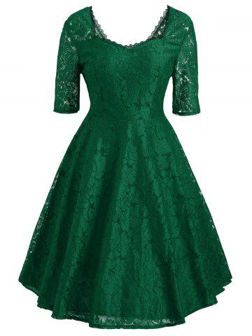Floral Lace Sweetheart Vintage Dress - Green - 2xl