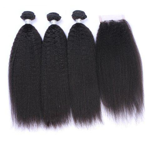 New 3Pcs/Lot 7A Remy Long Shaggy Kinky Straight Indian Human Hair Weaves