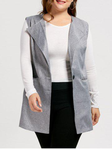 One Button Plus Size Sleeveless Trench Coat - Gray - 4xl