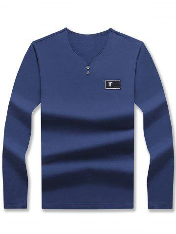 V Neck Patched Long Sleeve T-shirt - Blue - 3xl