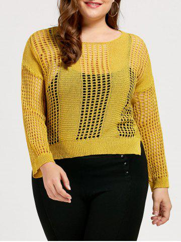 High Low Plus Size Crochet See Through Sweater - Yellow - One Size