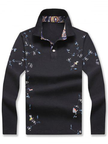Floral Print Polo Collar Long Sleeve T-shirt - Black - Xl