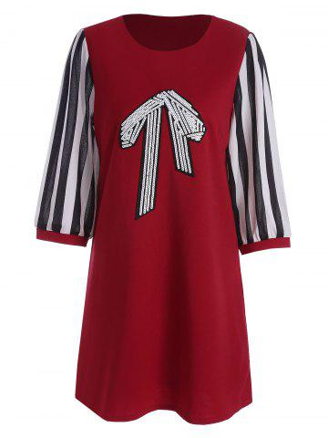 Stripe Panel Sequined Bow Plus Size Tunic Top - Red - 5xl