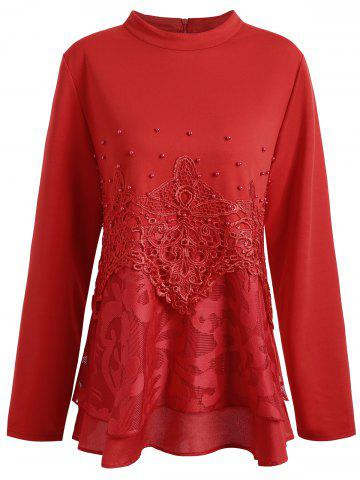 Plus Size Floral Lace Faux Pearl Embellished Blouse - Red - 4xl
