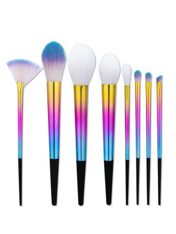 8Pcs Colorful Ombre Makeup Brushes Set - Colormix