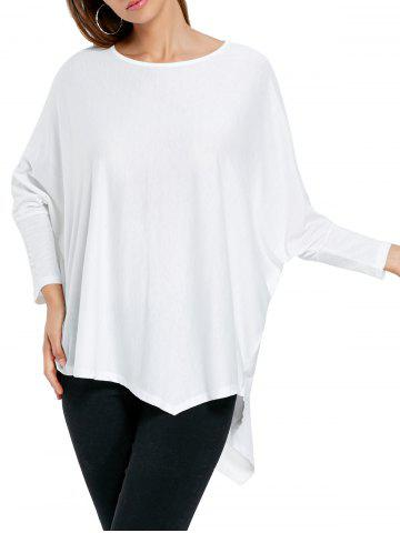 Oversized Asymmetric Batwing Sleeve Top - White - One Size
