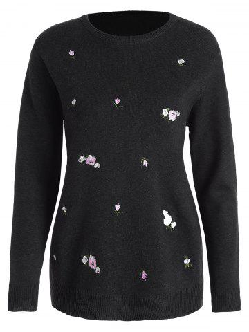 Plus Size Floral Embroidered Jumper Sweater - Black - 3xl