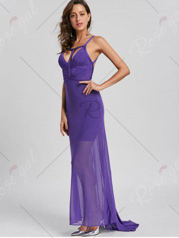 Chic Sheer Maxi Cut Out Bandage Dress - S PURPLE Mobile