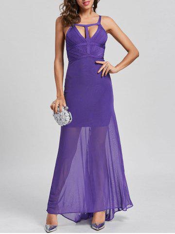 Sale Sheer Maxi Cut Out Bandage Dress - M PURPLE Mobile