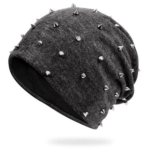 Trendy Tiny Rivet Embellished Knitted Beanie - DEEP GRAY  Mobile