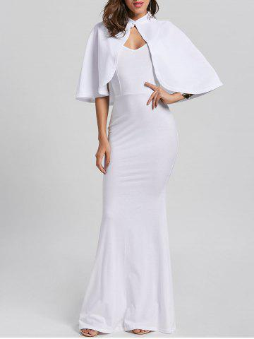 Sale Fitted Long Tight Cami Bodycon Maxi Dress with Clock - M WHITE Mobile