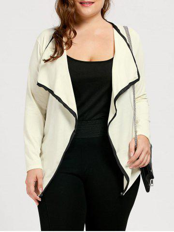Shop Collarless Plus Size Waterfall Jacket - 3XL OFF-WHITE Mobile