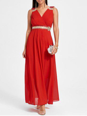 Shops Rhinestone Ruched Maxi Party Dress RED M