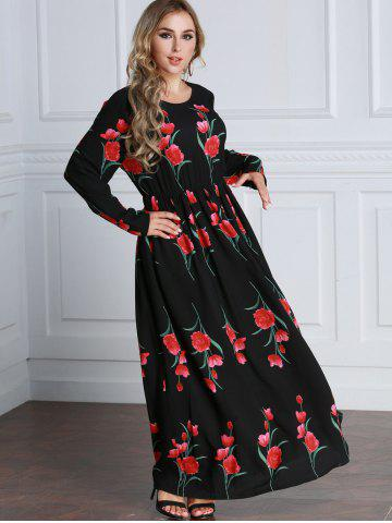 Rose Long Sleeve Maxi A Line Dress