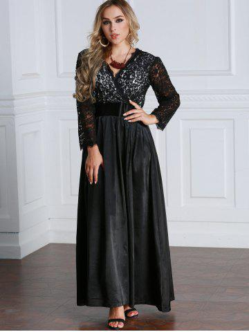 Lace Panel Long Sleeve Maxi Empire Waist Dress