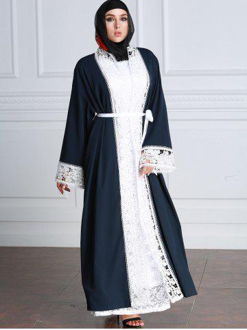 Latest Lace Trim Contrasting Belted Longline Cardigan