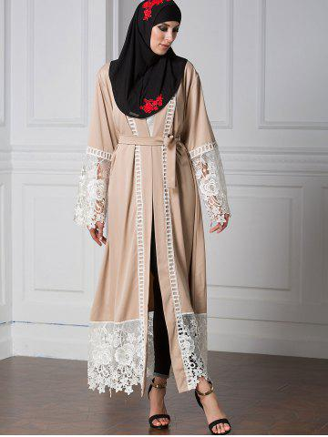 Chic Lace Panel Belted Longline Cardigan