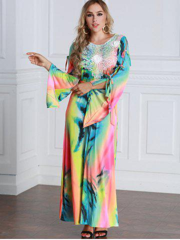 Discount Colorful Tie Dyed Bow Tie Sleeve Maxi Dress