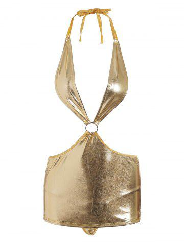 Lingerie Halter Plunge Metallic Dress