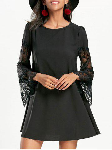 Lace Panel Flare Sleeve Swing Dress