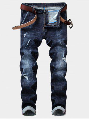 Discount Bleached Effect Straight Leg Ripped Jeans