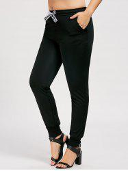 Ribbon Plus Size Drawstring Track Pants