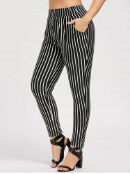 Striped High Rise Plus Size Harem Pants