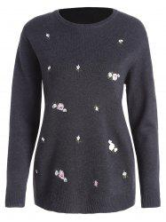 Plus Size Floral Embroidered Jumper Sweater