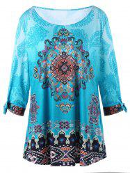 Plus Size Tie Sleeve Indian Print Top