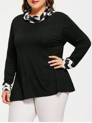 Chevron Panel Plus Size Long Sleeve T-shirt
