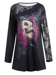 Halloween Lace Insert Plus Size Floral Skull Printed T-shirt