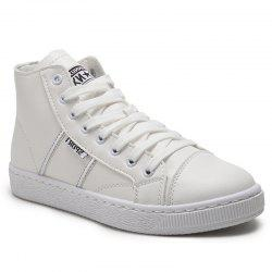 High Top PU Leather Casual Shoes - WHITE 39