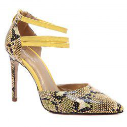 Snakeskin Ankle Strap Stiletto Heel Pumps