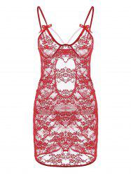 Lace Backless Sheer Slip Babydoll - RED L