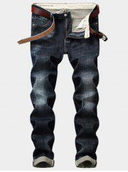 Straight Leg Bleach Wash Distressed Jeans